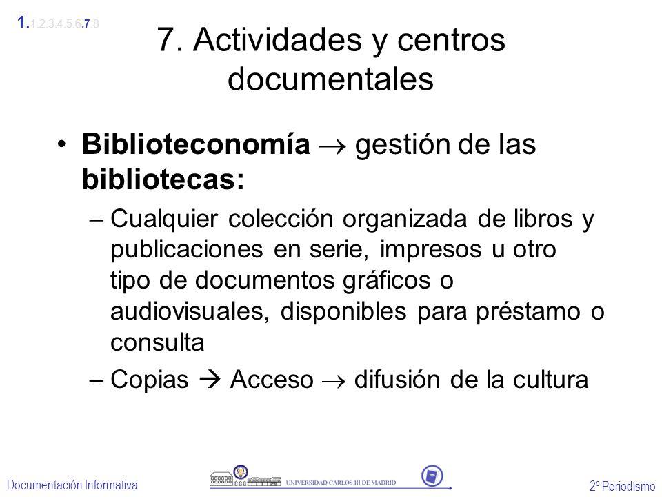 2º Periodismo Documentación Informativa 7. Actividades y centros documentales Biblioteconomía gestión de las bibliotecas: –Cualquier colección organiz