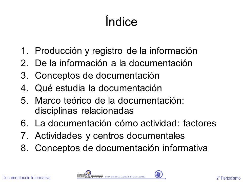 2º Periodismo Documentación Informativa Índice 1.Producción y registro de la información 2.De la información a la documentación 3.Conceptos de documen