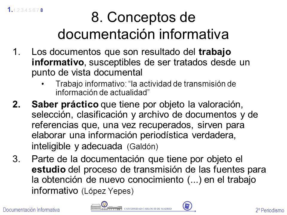 2º Periodismo Documentación Informativa 8. Conceptos de documentación informativa 1.Los documentos que son resultado del trabajo informativo, suscepti