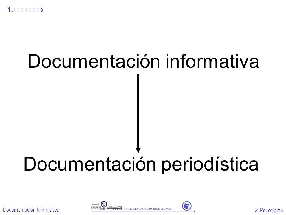 2º Periodismo Documentación Informativa Documentación informativa Documentación periodística 1. 1.2.3.4.5.6.7.8