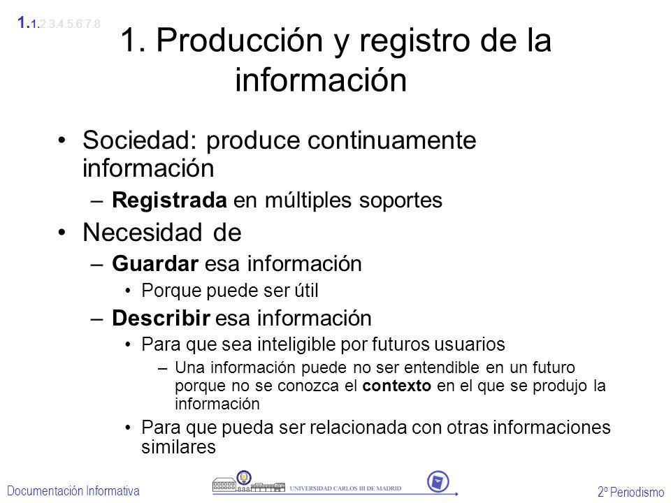 2º Periodismo Documentación Informativa 1. Producción y registro de la información Sociedad: produce continuamente información –Registrada en múltiple