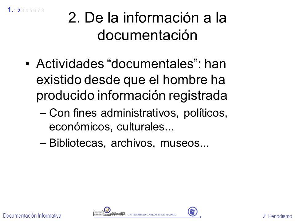 2º Periodismo Documentación Informativa 2. De la información a la documentación Actividades documentales: han existido desde que el hombre ha producid