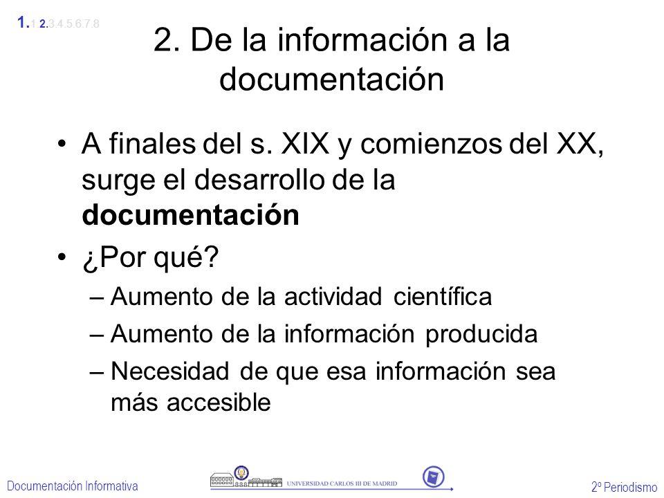 2º Periodismo Documentación Informativa 2. De la información a la documentación A finales del s. XIX y comienzos del XX, surge el desarrollo de la doc