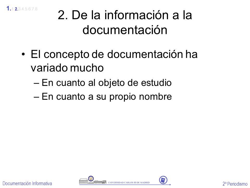2º Periodismo Documentación Informativa 2. De la información a la documentación El concepto de documentación ha variado mucho –En cuanto al objeto de