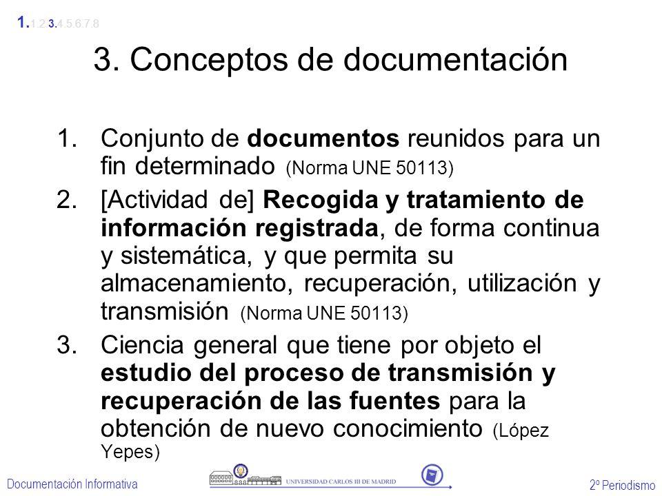 2º Periodismo Documentación Informativa 3. Conceptos de documentación 1.Conjunto de documentos reunidos para un fin determinado (Norma UNE 50113) 2.[A