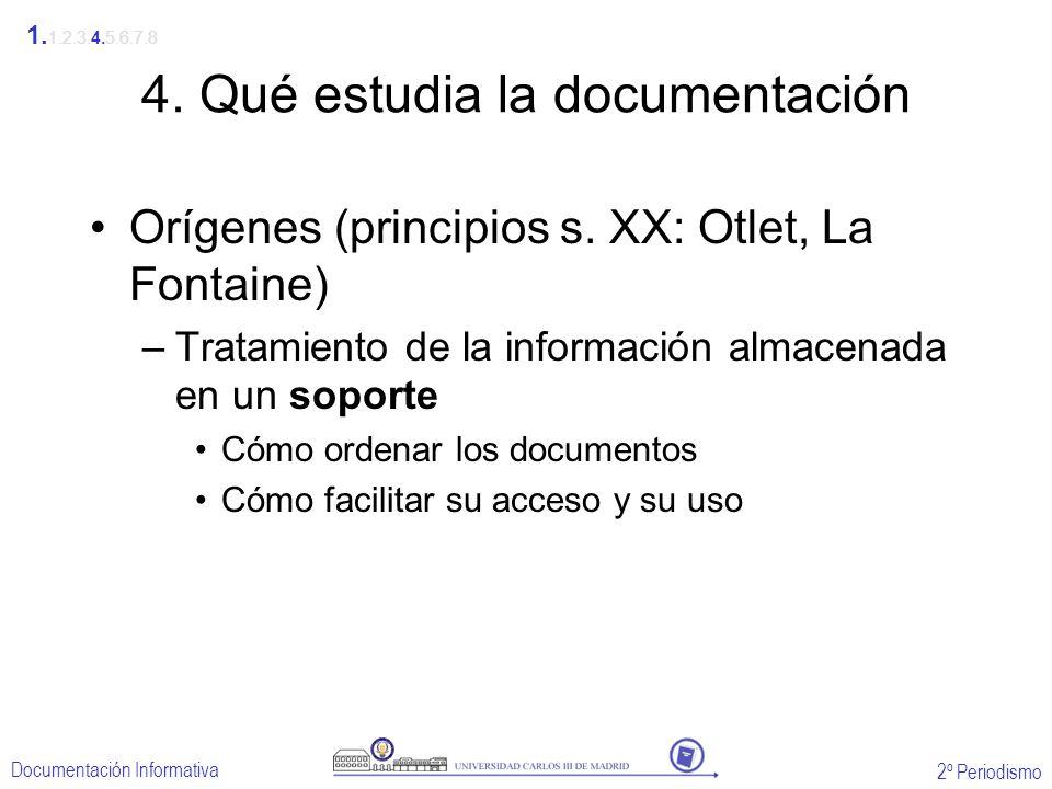 2º Periodismo Documentación Informativa 4. Qué estudia la documentación Orígenes (principios s. XX: Otlet, La Fontaine) –Tratamiento de la información