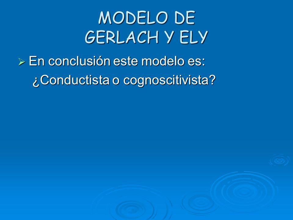MODELO DE GERLACH Y ELY En conclusión este modelo es: En conclusión este modelo es: ¿Conductista o cognoscitivista? ¿Conductista o cognoscitivista?