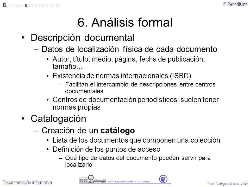 2º Periodismo Documentación Informativa David Rodríguez Mateos - 2004 6. Análisis formal Descripción documental –Datos de localización física de cada