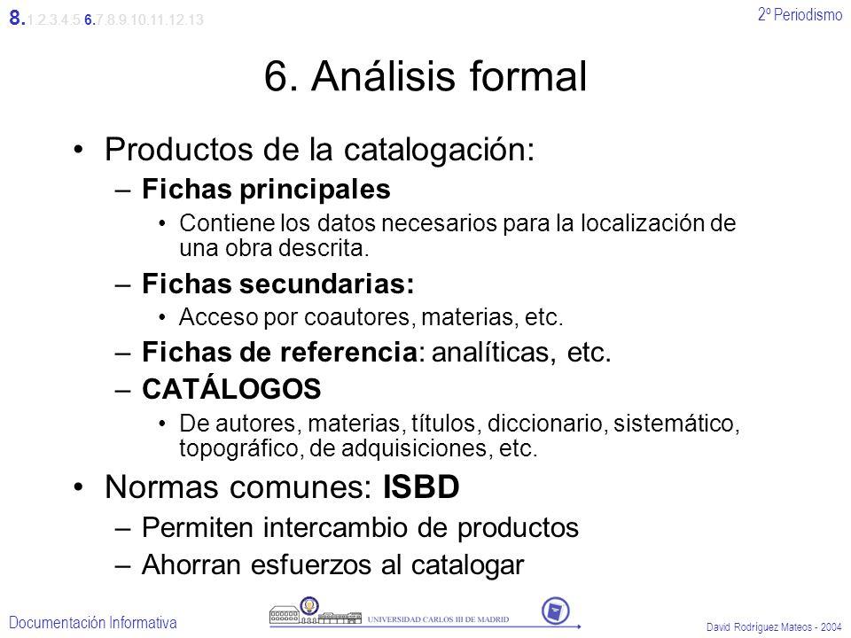 2º Periodismo Documentación Informativa David Rodríguez Mateos - 2004 6. Análisis formal Productos de la catalogación: –Fichas principales Contiene lo