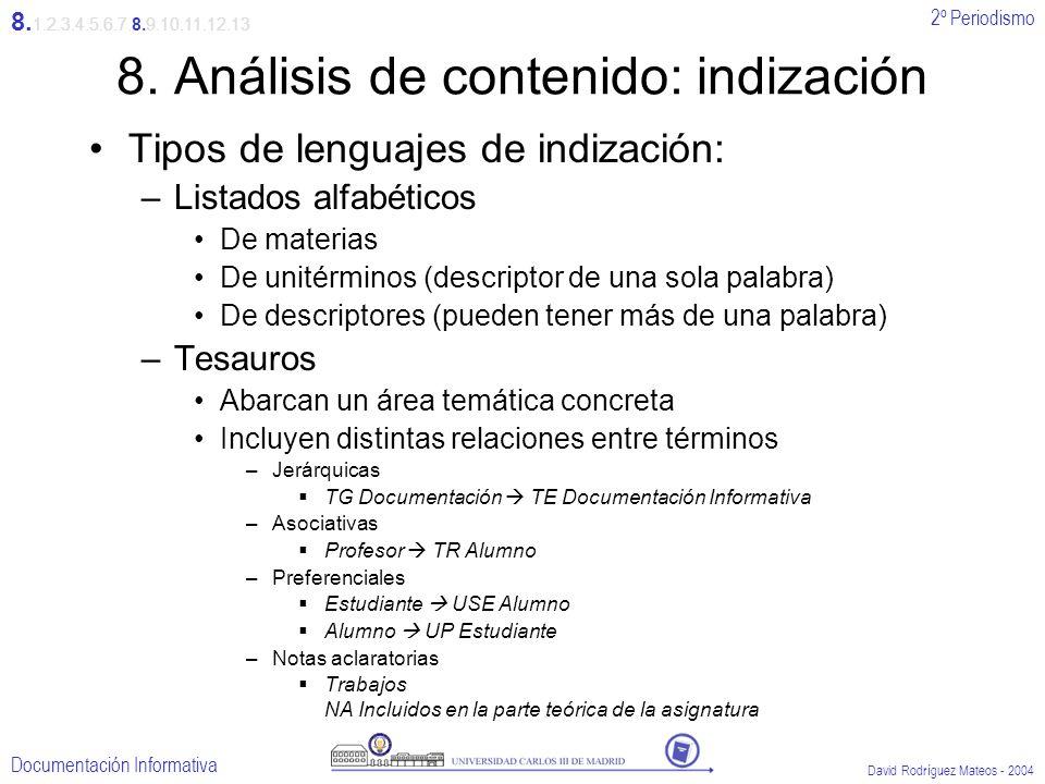 2º Periodismo Documentación Informativa David Rodríguez Mateos - 2004 8. Análisis de contenido: indización Tipos de lenguajes de indización: –Listados