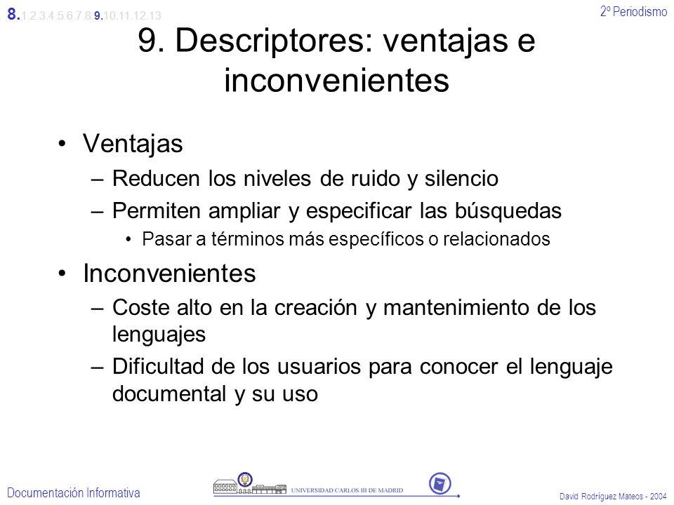2º Periodismo Documentación Informativa David Rodríguez Mateos - 2004 9. Descriptores: ventajas e inconvenientes Ventajas –Reducen los niveles de ruid