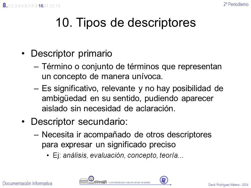 2º Periodismo Documentación Informativa David Rodríguez Mateos - 2004 10. Tipos de descriptores Descriptor primario –Término o conjunto de términos qu