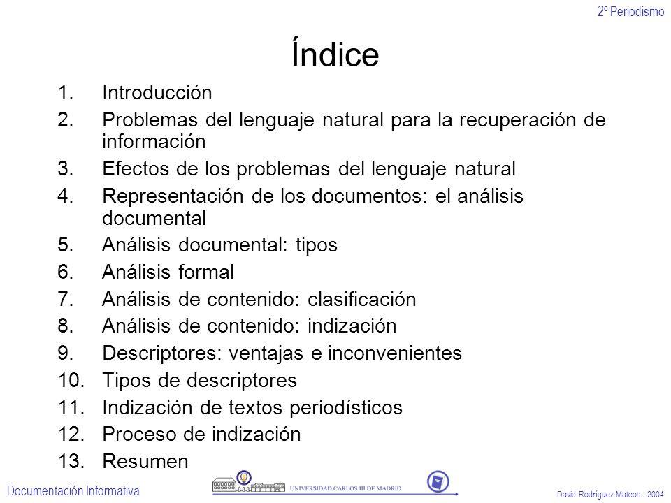 2º Periodismo Documentación Informativa David Rodríguez Mateos - 2004 Índice 1.Introducción 2.Problemas del lenguaje natural para la recuperación de i