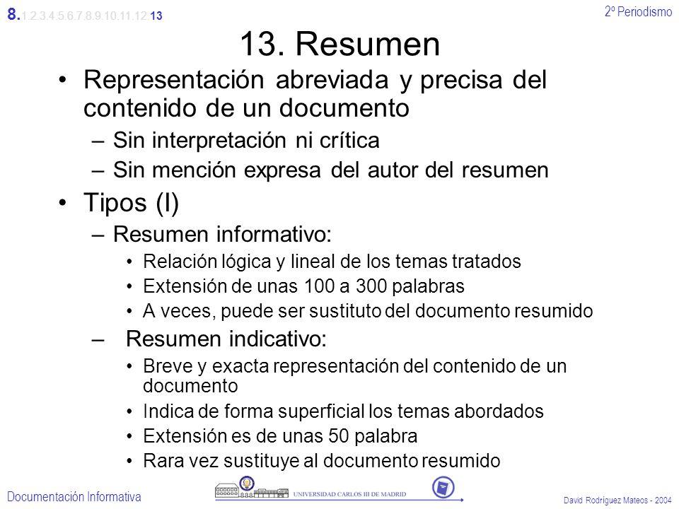 2º Periodismo Documentación Informativa David Rodríguez Mateos - 2004 13. Resumen Representación abreviada y precisa del contenido de un documento –Si