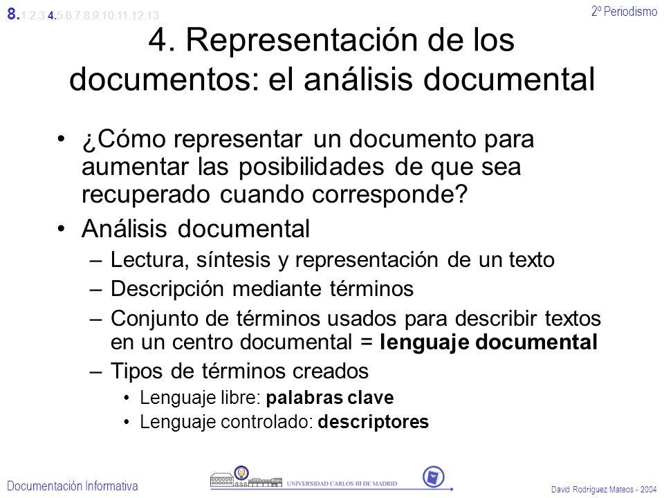 2º Periodismo Documentación Informativa David Rodríguez Mateos - 2004 4. Representación de los documentos: el análisis documental ¿Cómo representar un