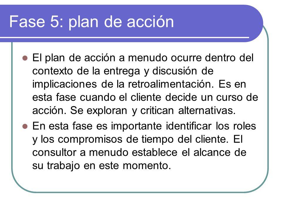 Fase 5: plan de acción El plan de acción a menudo ocurre dentro del contexto de la entrega y discusión de implicaciones de la retroalimentación. Es en