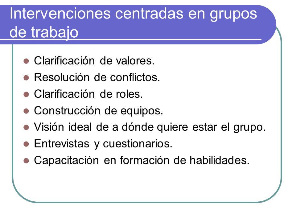Intervenciones centradas en grupos de trabajo Clarificación de valores. Resolución de conflictos. Clarificación de roles. Construcción de equipos. Vis