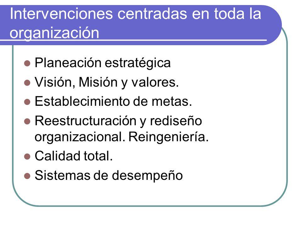 Intervenciones centradas en toda la organización Planeación estratégica Visión, Misión y valores. Establecimiento de metas. Reestructuración y rediseñ