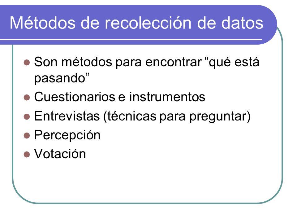 Métodos de recolección de datos Son métodos para encontrar qué está pasando Cuestionarios e instrumentos Entrevistas (técnicas para preguntar) Percepc