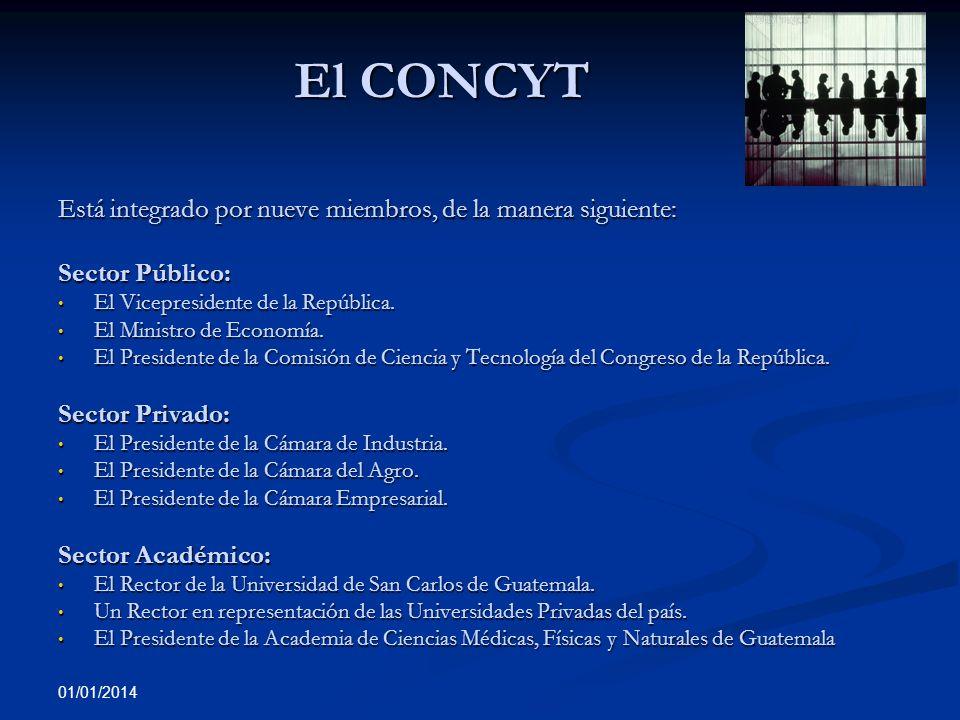 01/01/2014 El CONCYT Está integrado por nueve miembros, de la manera siguiente: Sector Público: El Vicepresidente de la República. El Vicepresidente d