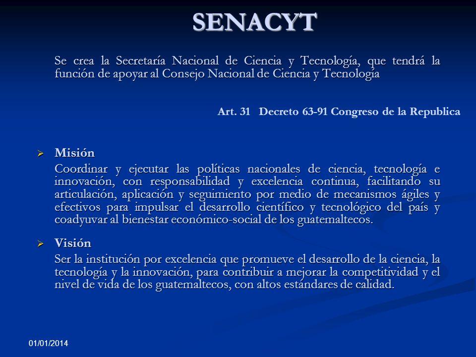 01/01/2014 SENACYT Se crea la Secretaría Nacional de Ciencia y Tecnología, que tendrá la función de apoyar al Consejo Nacional de Ciencia y Tecnología