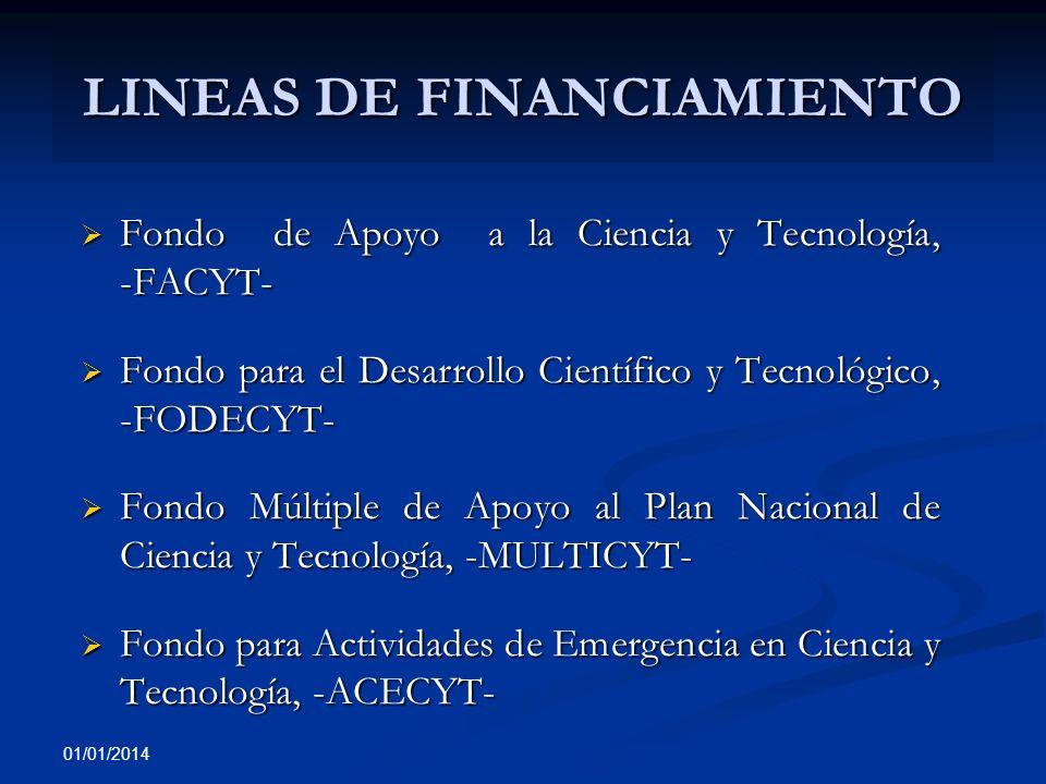 01/01/2014 LINEAS DE FINANCIAMIENTO Fondo de Apoyo a la Ciencia y Tecnología, -FACYT- Fondo de Apoyo a la Ciencia y Tecnología, -FACYT- Fondo para el