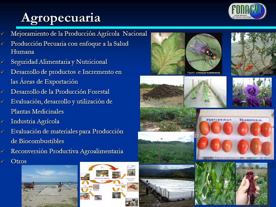 Mejoramiento de la Producción Agrícola Nacional Mejoramiento de la Producción Agrícola Nacional Producción Pecuaria con enfoque a la Salud Humana Prod