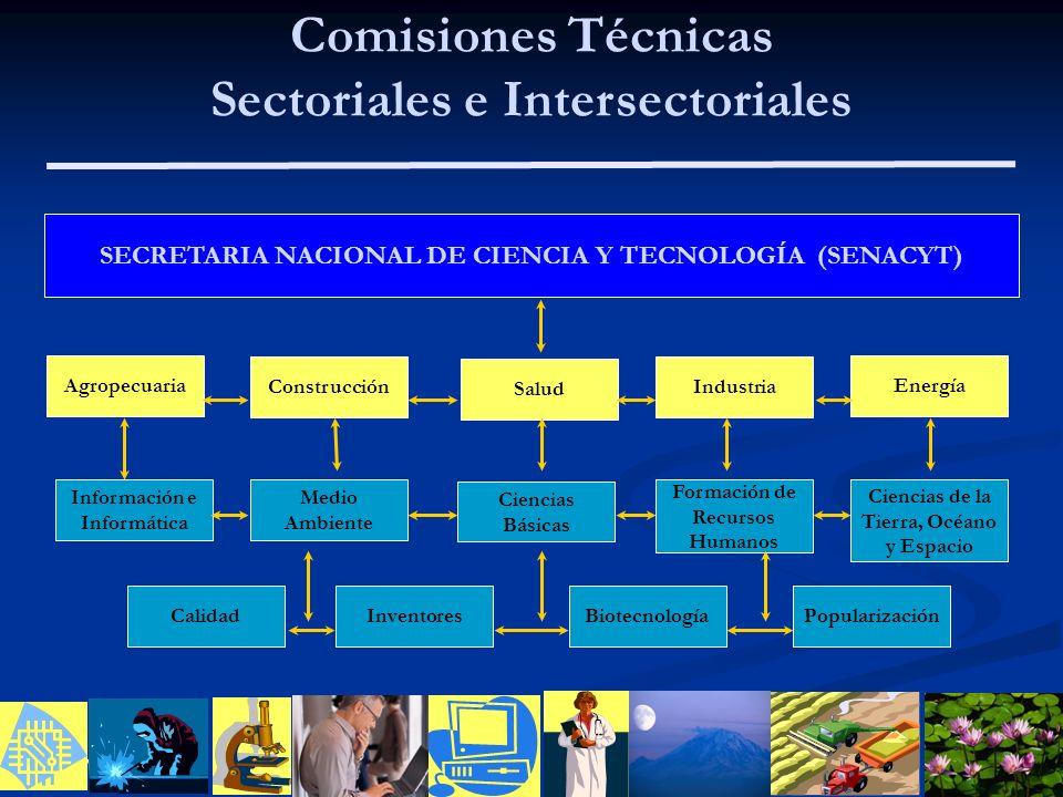 01/01/2014 Comisiones Técnicas Sectoriales e Intersectoriales SECRETARIA NACIONAL DE CIENCIA Y TECNOLOGÍA (SENACYT) Agropecuaria Información e Informá