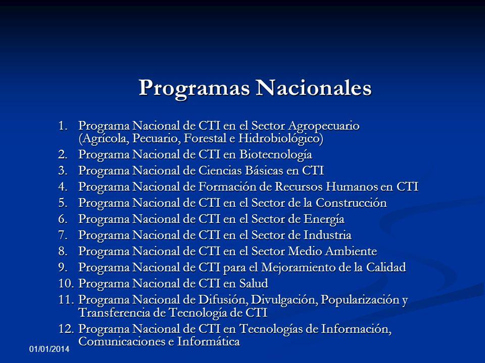 01/01/2014 Programas Nacionales Programas Nacionales 1.Programa Nacional de CTI en el Sector Agropecuario (Agrícola, Pecuario, Forestal e Hidrobiológi