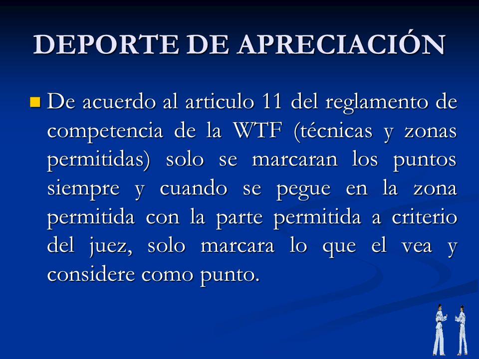 DEPORTE DE APRECIACIÓN De acuerdo al articulo 11 del reglamento de competencia de la WTF (técnicas y zonas permitidas) solo se marcaran los puntos sie