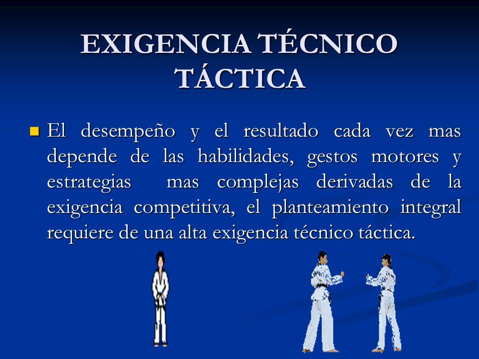 EXIGENCIA TÉCNICO TÁCTICA El desempeño y el resultado cada vez mas depende de las habilidades, gestos motores y estrategias mas complejas derivadas de