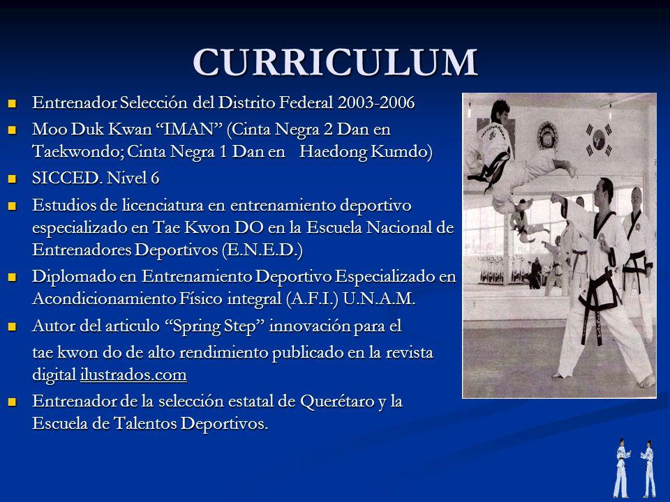CURRICULUM Entrenador Selección del Distrito Federal 2003-2006 Entrenador Selección del Distrito Federal 2003-2006 Moo Duk Kwan IMAN (Cinta Negra 2 Da