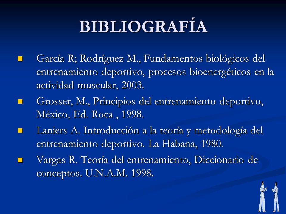 BIBLIOGRAFÍA García R; Rodríguez M., Fundamentos biológicos del entrenamiento deportivo, procesos bioenergéticos en la actividad muscular, 2003. Garcí
