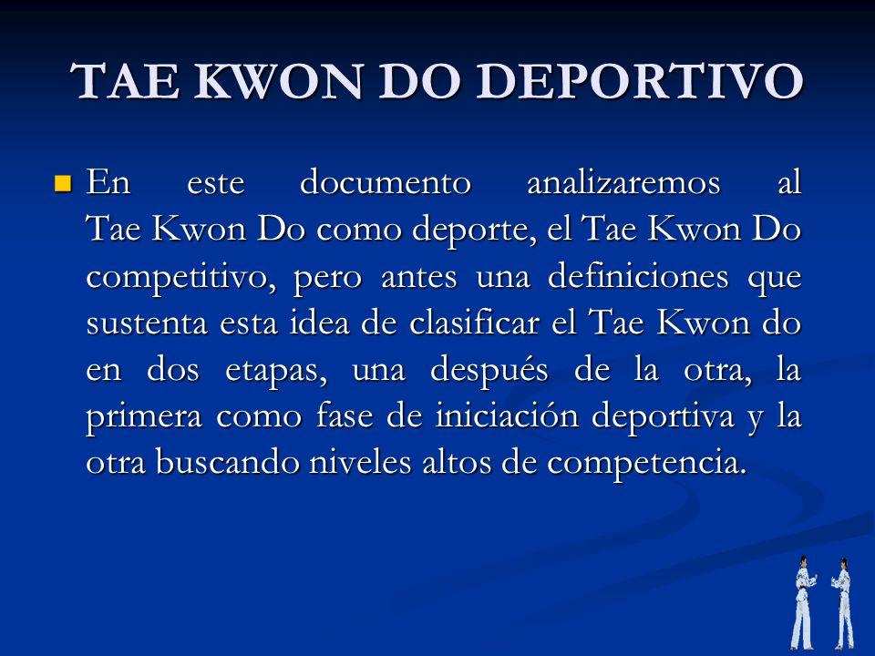 TAE KWON DO DEPORTIVO En este documento analizaremos al Tae Kwon Do como deporte, el Tae Kwon Do competitivo, pero antes una definiciones que sustenta