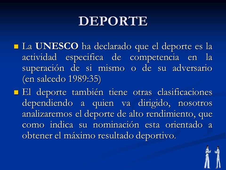 DEPORTE La UNESCO ha declarado que el deporte es la actividad especifica de competencia en la superación de si mismo o de su adversario (en salcedo 19
