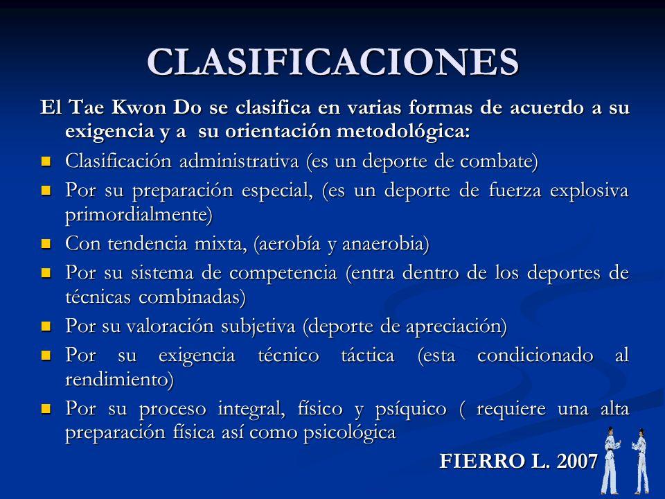 CLASIFICACIONES El Tae Kwon Do se clasifica en varias formas de acuerdo a su exigencia y a su orientación metodológica: Clasificación administrativa (