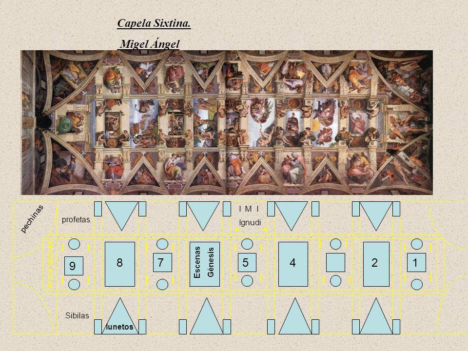 pechinas Arcos fajones 12 3 4578 9 lunetos Escenas Génesis profetas Sibilas I M I Ignudi I I Capela Sixtina. Migel Ángel