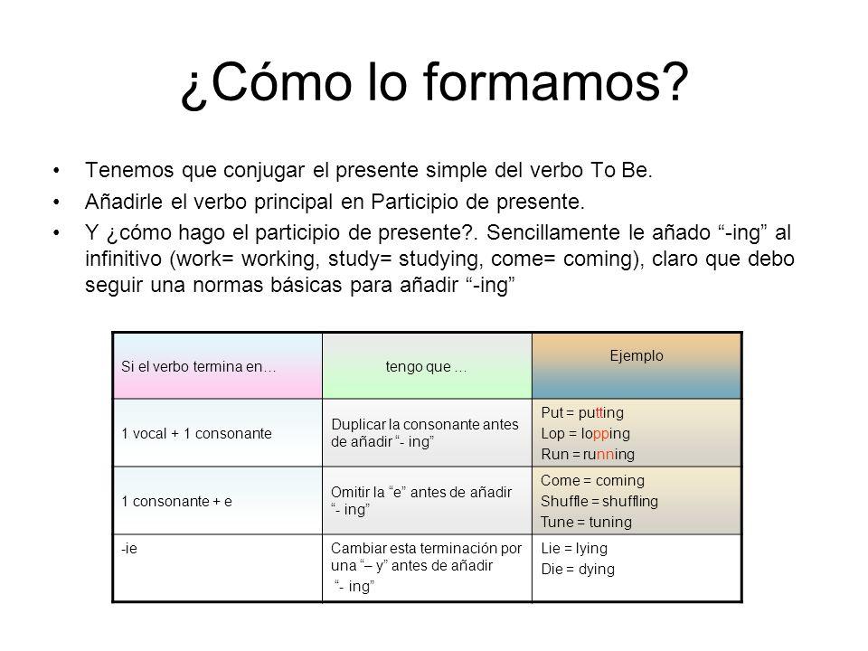 ¿Cómo lo formamos? Tenemos que conjugar el presente simple del verbo To Be. Añadirle el verbo principal en Participio de presente. Y ¿cómo hago el par