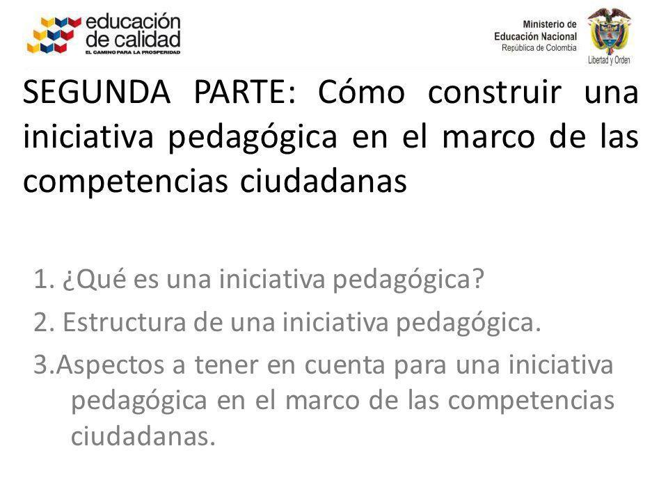 SEGUNDA PARTE: Cómo construir una iniciativa pedagógica en el marco de las competencias ciudadanas 1. ¿Qué es una iniciativa pedagógica? 2. Estructura