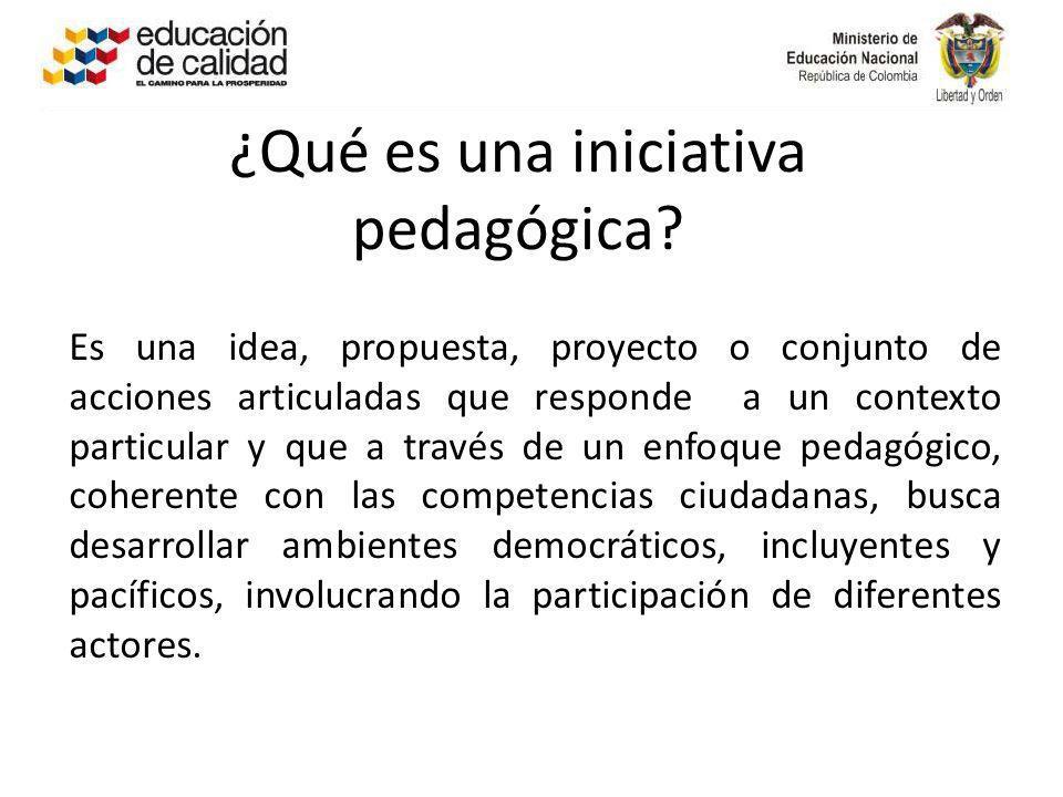 ¿Qué es una iniciativa pedagógica? Es una idea, propuesta, proyecto o conjunto de acciones articuladas que responde a un contexto particular y que a t