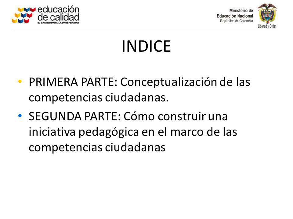 INDICE PRIMERA PARTE: Conceptualización de las competencias ciudadanas. SEGUNDA PARTE: Cómo construir una iniciativa pedagógica en el marco de las com