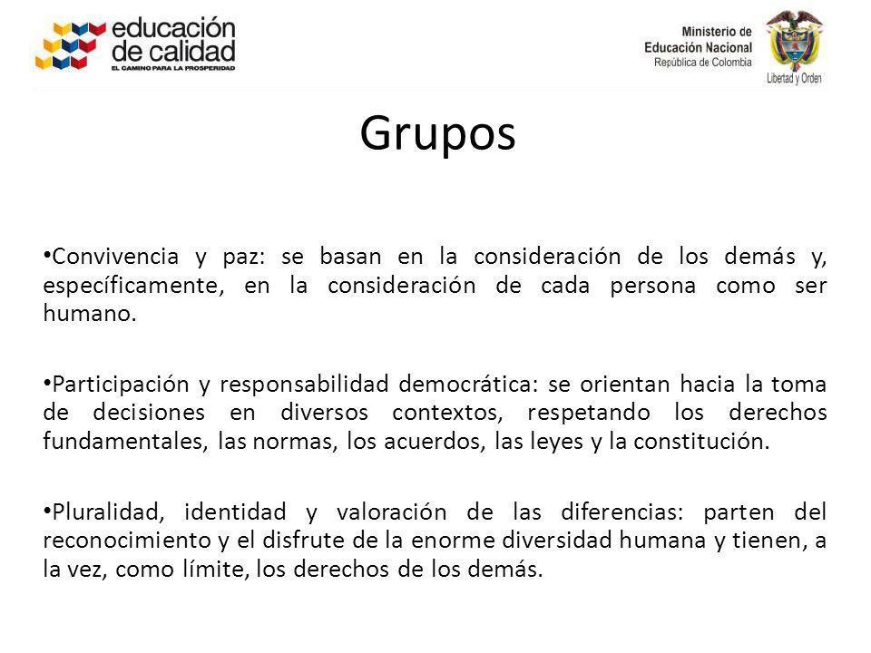 Grupos Convivencia y paz: se basan en la consideración de los demás y, específicamente, en la consideración de cada persona como ser humano. Participa