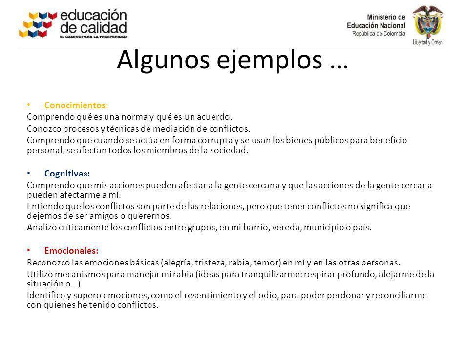 Algunos ejemplos … Conocimientos: Comprendo qué es una norma y qué es un acuerdo. Conozco procesos y técnicas de mediación de conflictos. Comprendo qu
