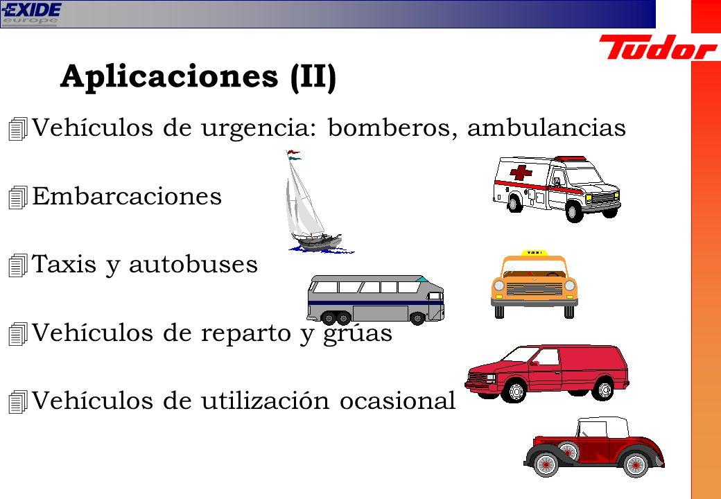 Aplicaciones (II) 4Vehículos de urgencia: bomberos, ambulancias 4Embarcaciones 4Taxis y autobuses 4Vehículos de reparto y grúas 4Vehículos de utilizac
