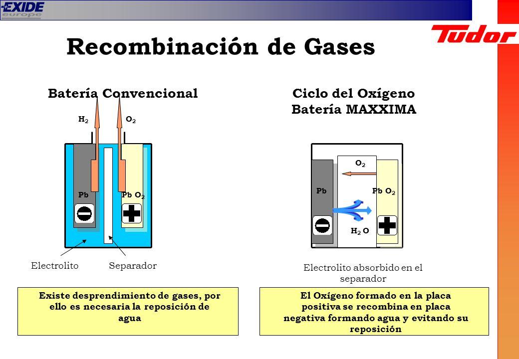 Recombinación de Gases Pb O 2 O2O2 H2H2 Pb O2O2 H 2 O Ciclo del Oxígeno Batería MAXXIMA Batería Convencional ElectrolitoSeparador Electrolito absorbid