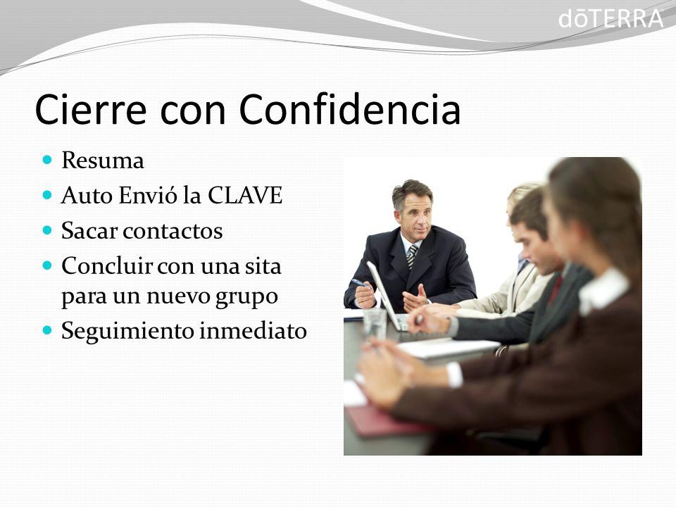 Cierre con Confidencia Resuma Auto Envió la CLAVE Sacar contactos Concluir con una sita para un nuevo grupo Seguimiento inmediato