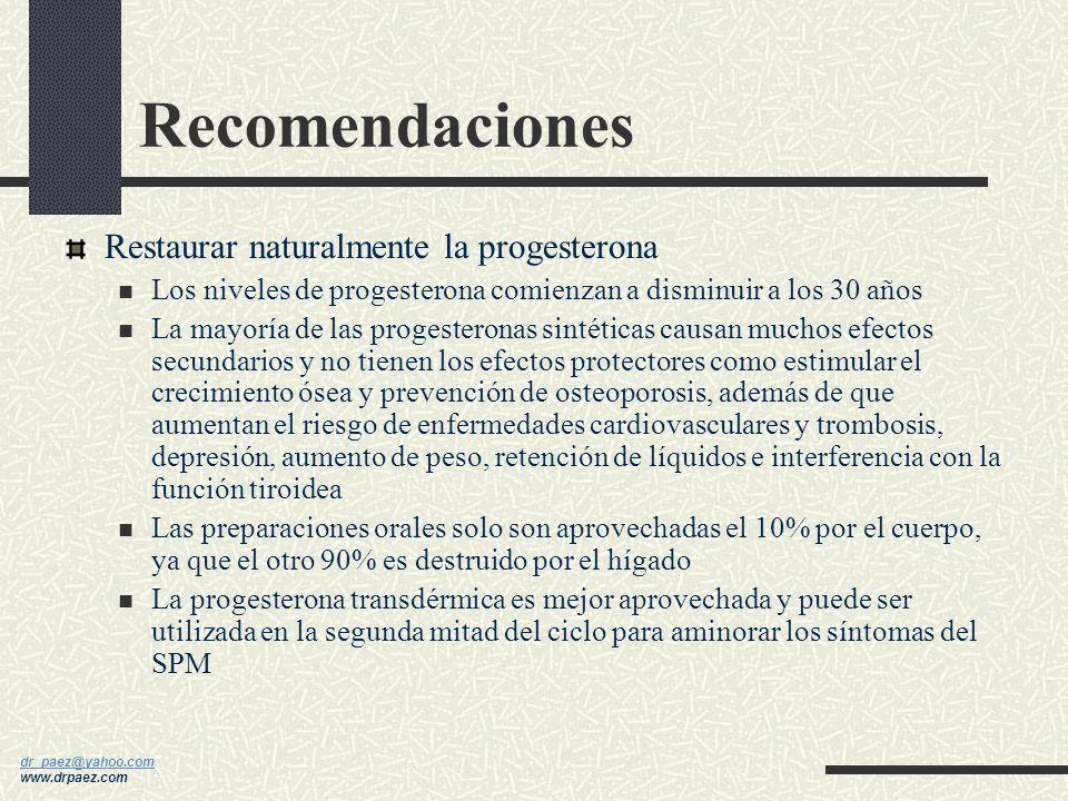 dr_paez@yahoo.com dr_paez@yahoo.com www.drpaez.com Recomendaciones Tener cautela con el uso de estrógenos No pensar que el uso de estrógenos es la sol
