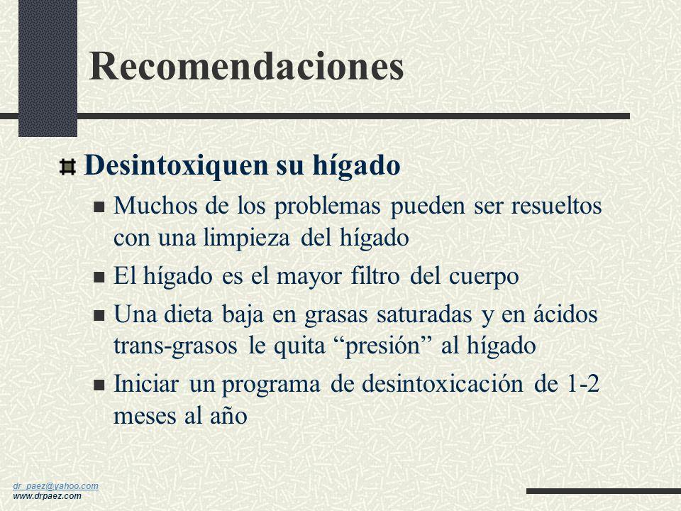 dr_paez@yahoo.com dr_paez@yahoo.com www.drpaez.com Recomendaciones Cambien su dieta y tomen suplementos Escojan alimentos bajos en grasas saturadas, a