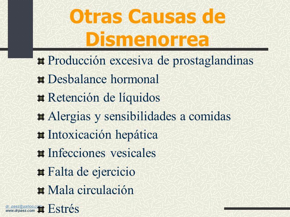 dr_paez@yahoo.com dr_paez@yahoo.com www.drpaez.com Dismenorrea Secundaria Endometriosis Infecciones pélvicas Tumores o quistes Dispositivo Intrauterin