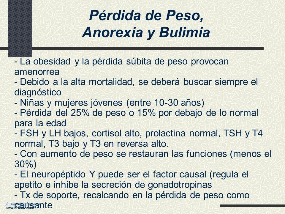 dr_paez@yahoo.com dr_paez@yahoo.com www.drpaez.com Amenorrea Hipotalámica - Hipogonadismo hipogonadotrópico (la más común forma) - Deficiencia de la s